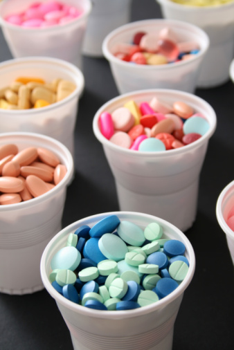 Disposable cups filled with pharmaceutical controlled substances
