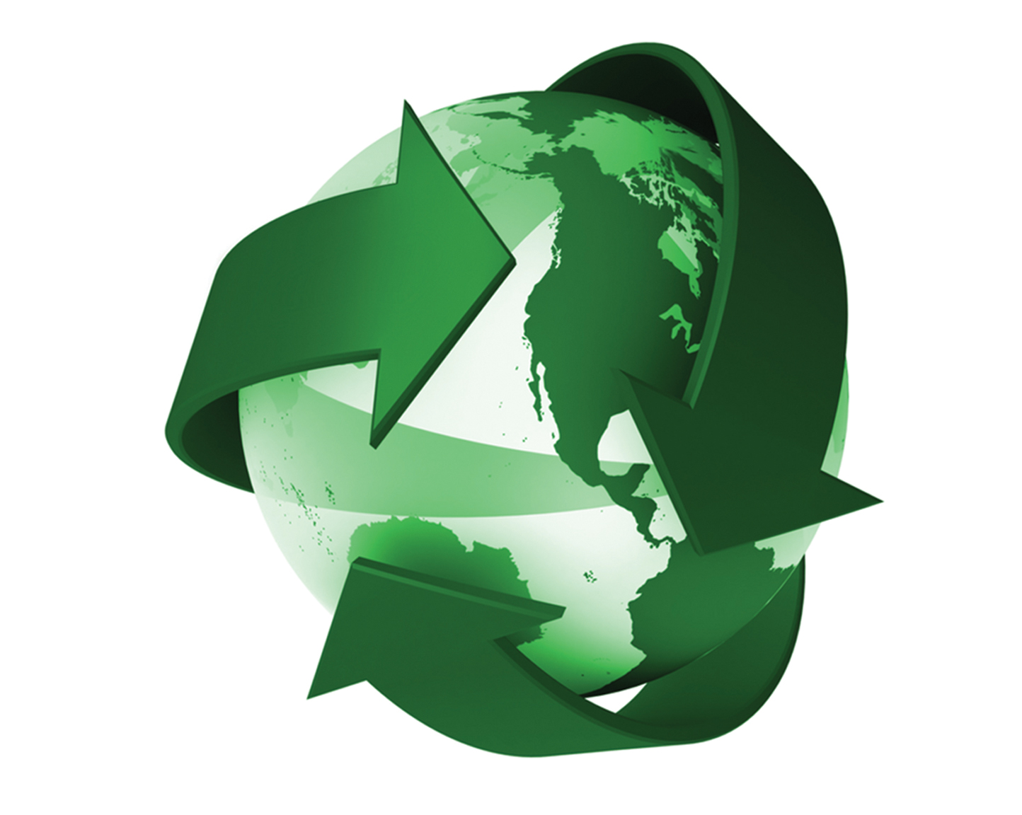 3D green recycle globe graphic