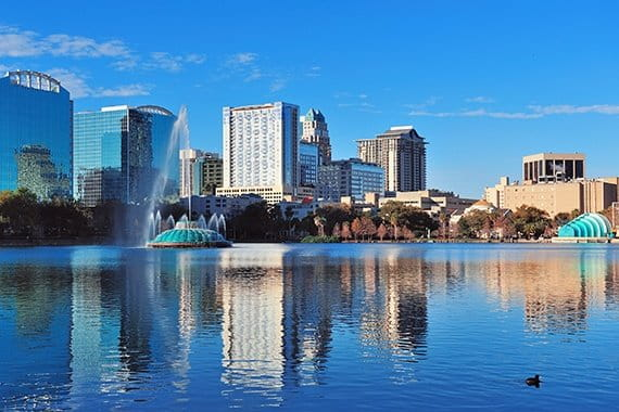 Orlando lake with cityscape