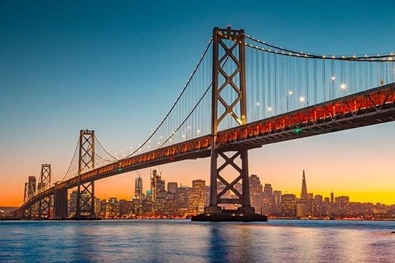 San Francisco bridge at sunrise