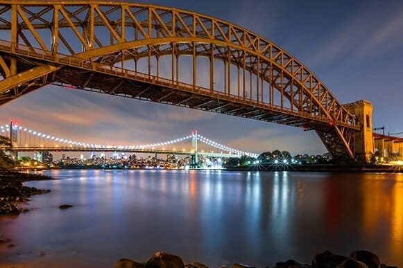 Bright lights on bridge in Astoria NY