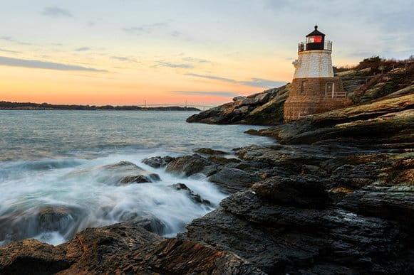 Cranston Rhode Island lighthouse rocky coast