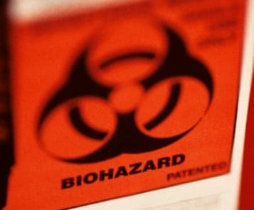 Biohazard medical waste orange label