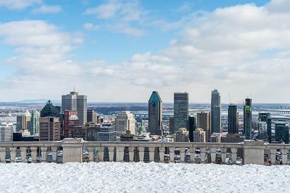 Snowy balcony overlooking Montreal