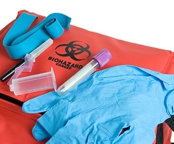 Biohazard bag sample collection latex gloves
