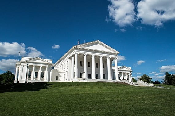 Virginia capitol building on large lawn