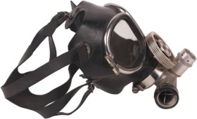 a full face fitted respirator with eye protection