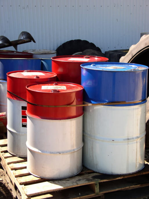 Hazardous waste drums ready to be collected and shipped