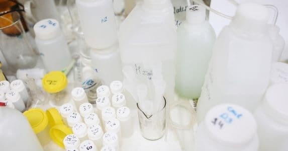 lab chemicals in bottles