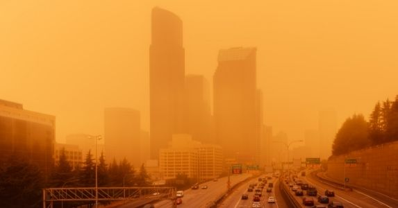 poor air quality in city from fire smoke