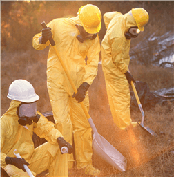 Workers in yellow PPE working on contaminated soil
