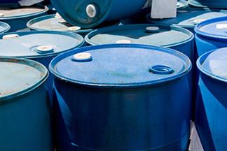 Steel drums of hazardous waste for inspection by the EPA, OSHA, or RCRA